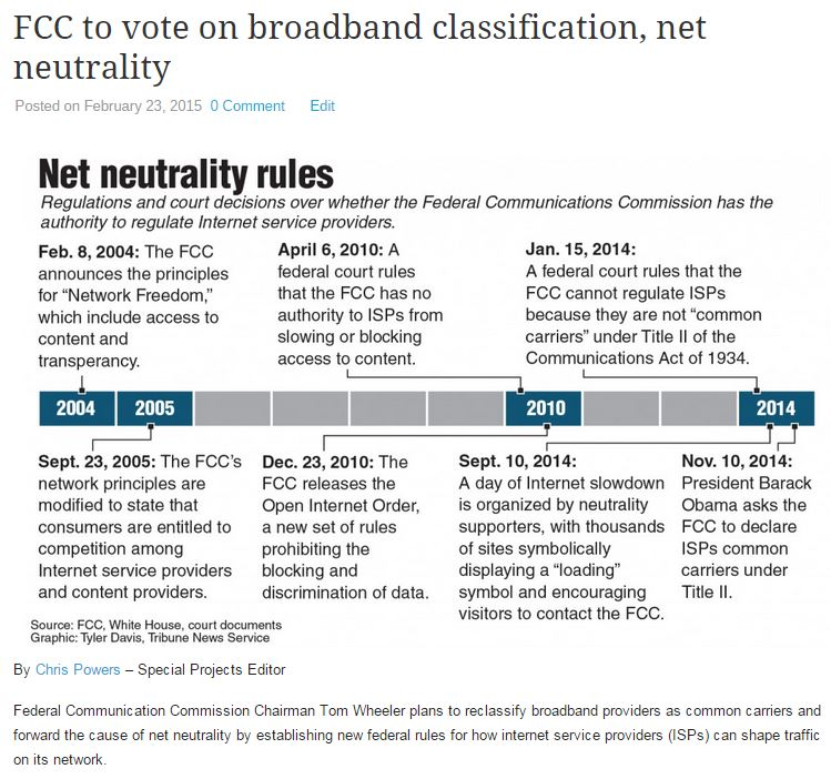 FCC to vote on broadband classification, net neutrality